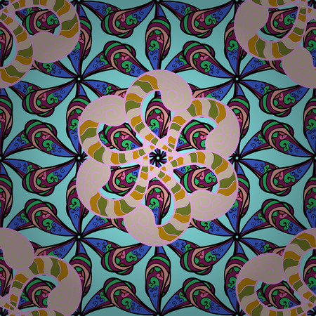 surface: Colored Mandala. Round Ornament Pattern on a white background. Spiritual and ritual symbol of Islam, Arabic, Indian religions. Oriental motifs. Vector geometric circle elements.