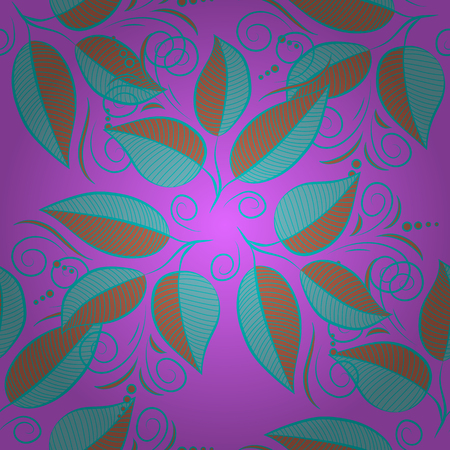 Vector abstract leaf background. Pretty floral print with blue small leaves. Motley seamless pattern. Illustration