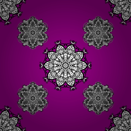 White ornate illustration for sketch. Vintage design element in Eastern style. Ornamental lace tracery. Vector seamless pattern with floral ornament. Traditional arabic decor on magenta background.