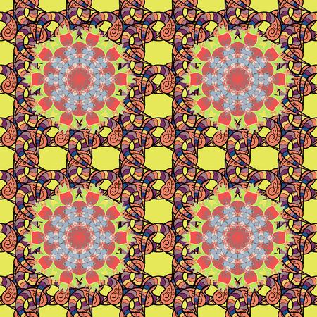 흰색 배경에 낙서. 꽃 장식 원활한 패턴입니다. 라운드 질감 벡터 일러스트 레이 션.