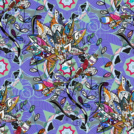 flamboyant: Vector illustration of blue flowers. Seamless pattern with flowers on motley background.