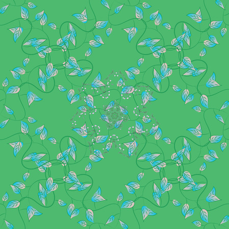 Vector abstract floral background. Seamless pattern with many small blue leaves. Seamless floral pattern. Ilustrace