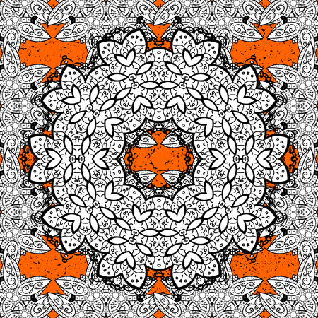 Luxury, royal and Victorian concept. White pattern on orange and white background with white elements. Vector vintage baroque floral pattern. Ornate decoration. Illustration