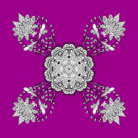 oriental vector: Traditional classic white vector pattern on magenta and pink background with white elements. Oriental ornament in the style of baroque.