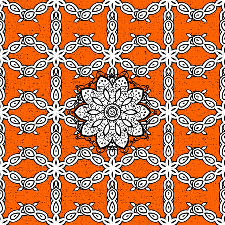 lace pattern: Traditional orient ornament. Classic vintage background. Classic vector pattern. Pattern on orange and white background with white elements.