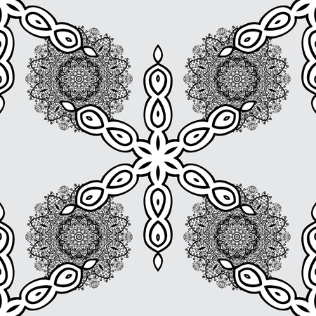 oriental vector: Vector oriental ornament. Seamless pattern on gray background with white elements. Seamless white pattern.