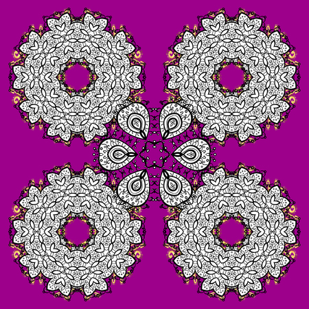 White snowflakes on magenta and pink background. Christmas white doodles snowflake. Symbol holiday, New Year celebration vector pattern with elements. Winter snow texture sketch.