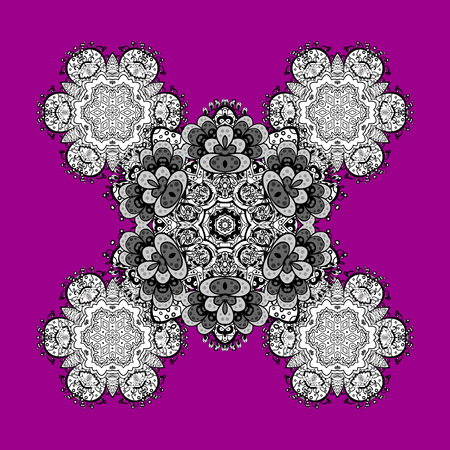 Christmas, snowflake, new year. Pattern on magenta and pink background with white elements. Vintage pattern on magenta and pink background with elements.
