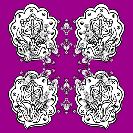 diagonal: Luxury, royal and Victorian concept. Ornate decoration. White pattern on magenta and pink background with elements. Vector vintage baroque floral pattern in white.