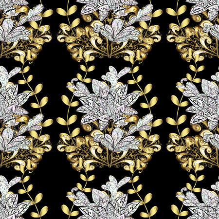 gold textured background: Traditional classic golden vector pattern on black background with golden elements. Seamless oriental ornament in the style of baroque.
