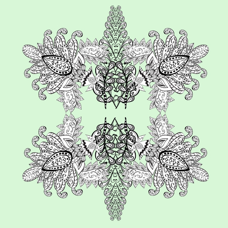 tillable: White background with elements. Floral pattern. Vector white floral ornament brocade textile pattern, doodles. White pattern.