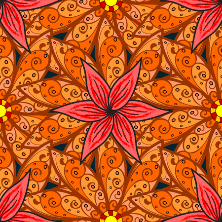 Motley illustration. Spring floral background with orange flowers. Vector cute pattern in small flower. Small colorful flowers. The elegant the template for fashion prints.