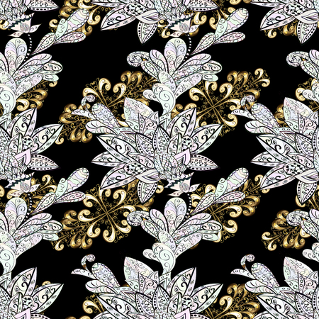 oriental vector: Classic oriental background with white doodles. Damask seamless ornament. Traditional vector and golden pattern. Illustration
