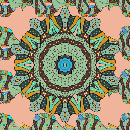 sacral: Colored mandala. Vector pattern. Abstract luxury ornate bright texture.