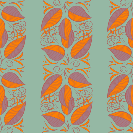 Multicolor ornament of small simple blue and pink leaves, vector abstract seamless pattern for fabric or textile design.