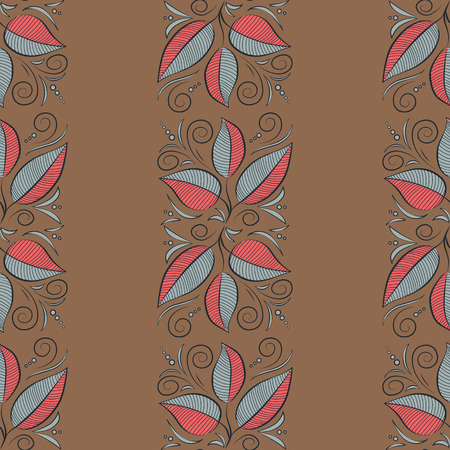 popular: Multicolor ornament of small simple blue leaves, vector abstract seamless pattern for fabric or textile design.