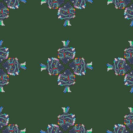 mehendi: Abstract Mandala on a blue background. Vector illustration.