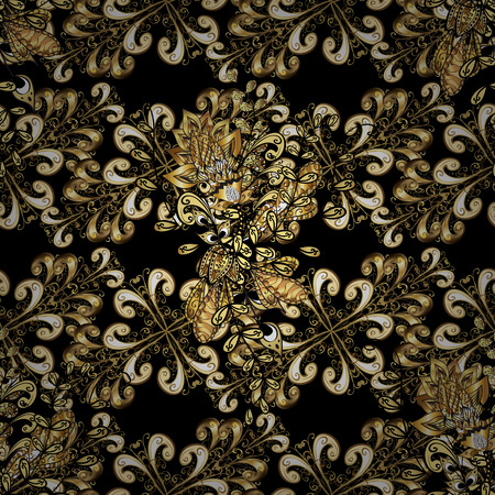 gold textured background: Vintage seamless pattern on a black background with golden elements.