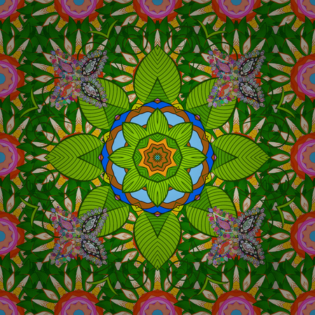 Red background. Colored elements. Abstract vector decorative ethnic mandala sketchy seamless pattern. Vektoros illusztráció