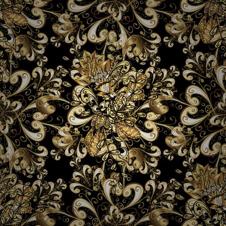 oriental vector: Seamless pattern oriental ornament. Floral tiles. Islamic design. Golden pattern on black background with golden elements. Vector golden textile print.