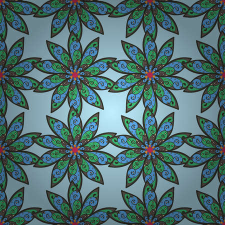 ethno: Summer design. Leaf natural pattern in blue colors. Vector flower concept. Seamless floral pattern can be used for sketch, website background, wrapping paper. Illustration