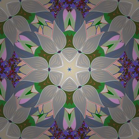カラフルな背景に花模様のシームレスなパターン。青い花のベクトル イラスト。