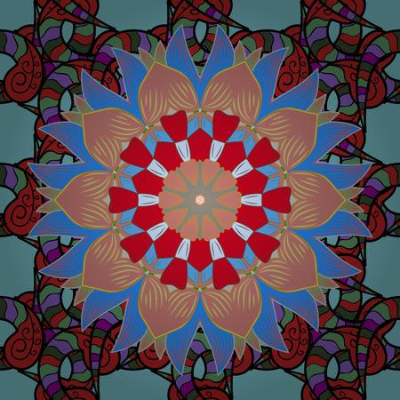 Colored over blue. Colored stickers, flash temporary tattoo, mehndi and yoga design, boho, magic symbol. Decorative ornate round mandala. Invitation, wedding card, scrapbooking. Vintage vector pattern