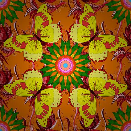 벡터 손으로 그린 만다라, 오렌지 배경에 색깔 된 추상 패턴. 일러스트