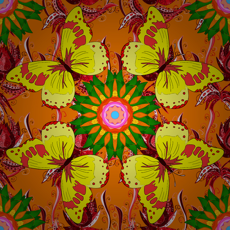 Vector hand-drawn mandala, colored abstract pattern on a orange background.
