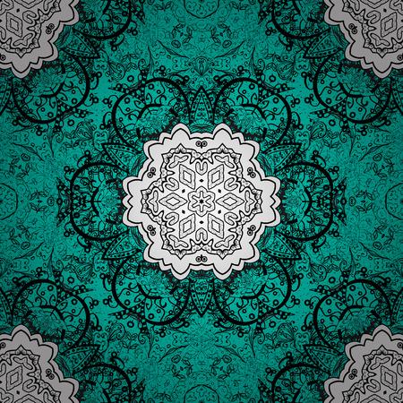 Dark pattern on blue background with dark elements. Damask classic white and dark pattern. Vector abstract background with repeating elements.