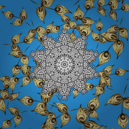kundalini: Vintage Invitation or wedding card with mandala pattern and elegant floral elements. Vector template greeting card, invitation and advertising banner, brochure on a blue background.
