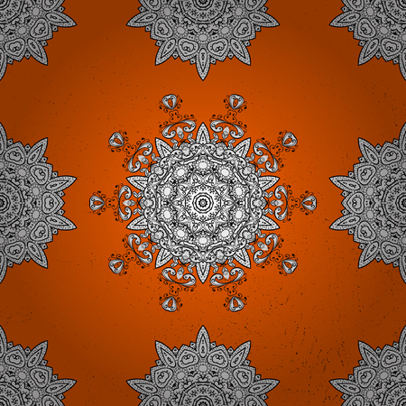 oriental vector: Oriental style arabesques. White roughness textured curls. Orange and white background with white elements. Vector pattern.