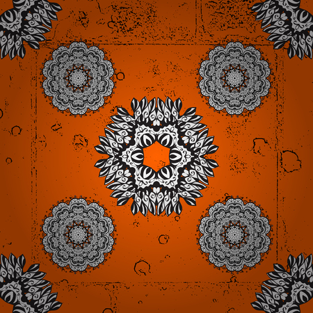 attern: White textured curls. Vector pattern. ?attern on orange and white roughness background with white elements. Oriental style arabesques.