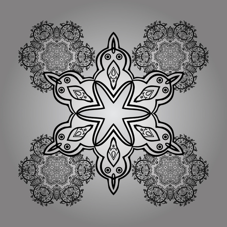 Classic vector dim pattern. Classic vintage background. On gray background with dim elements and white doodles. Traditional orient ornament.