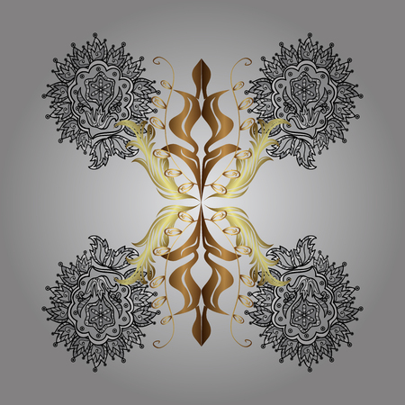 Golden elements. Snowflakes design on gray background in colors. Vector winter pattern. Abstract with Floral Elements. Vektoros illusztráció