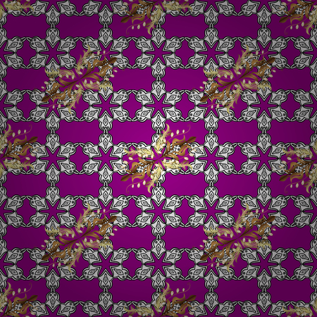 Christmas, snowflake, new year. Seamless vintage pattern on magenta background with golden elements and with white doodles.