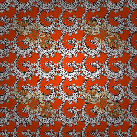 tissue paper art: Vintage baroque floral seamless pattern in gold over orange. Luxury, royal and Victorian concept. Golden element on orange background. Ornate vector decoration.