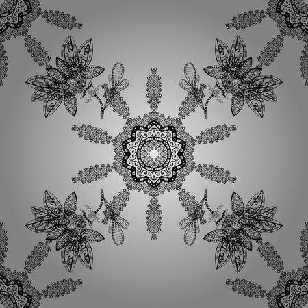 Vector seamless pattern with dim antique floral medieval decorative, leaves and dim pattern ornaments on gray background. Seamless royal luxury dim baroque damask vintage.