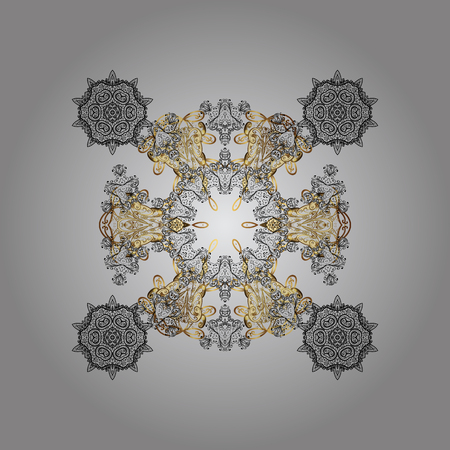diagonal: Snow crystal regular texture on colors. Vector with stylized snowflakes. Winter, New Year, Christmas simple design on a gray background.