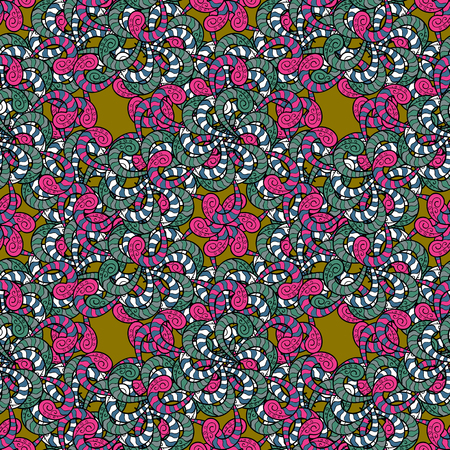 Vector traditional orient ornament. Vintage pattern on blue background with colorful elements. Seamless classic colorful pattern. Illustration