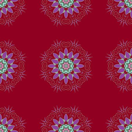 Uitstekend decoratief element op een witte achtergrond. Uitnodiging met gekleurde mandala. Patroon voor bruiloft kaart illustratie. Stock Illustratie