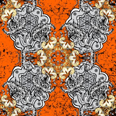 embellishment: Traditional classic white vector pattern on orange and white background with white elements. Oriental ornament in the style of baroque. Stock Photo