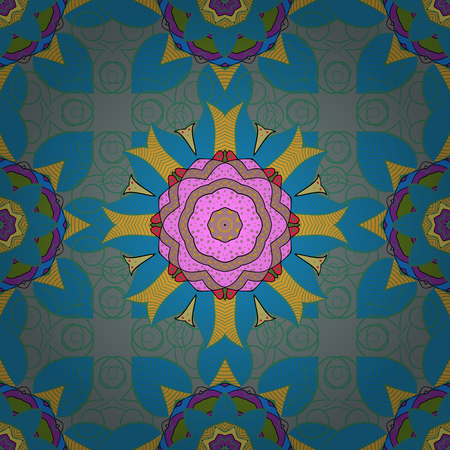 Vector abstract stylized colored mandala. Intricate colored Arabesque with on a white background.