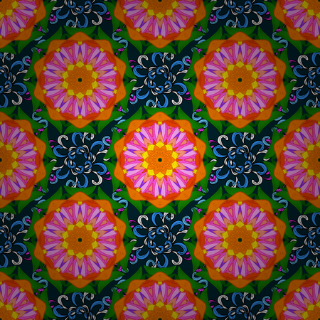 Vector illustration of blue flowers. Seamless pattern with flowers on motley background.