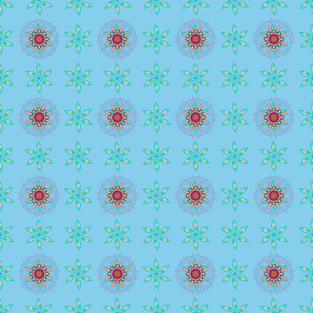 Seamless pattern abstract floral background. Vector sketch of many abstract flowers in blue colors. Hand drawn seamless flower illustration.