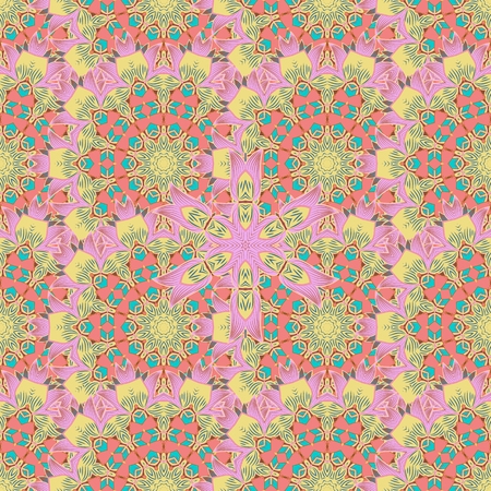 Tropical seamless pattern with many blue abstract flowers. Varicolored vector seamless illustration.