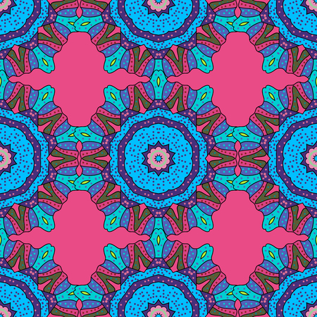 festal: Abstract vector decorative ethnic mandala sketchy seamless pattern on colorful background. Colored elements.