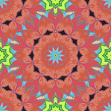 Für Einladungskarte, Scrapbook, Banner, Postkarte, Tattoo, Yoga, Boho, Magie, Teppich, Fliesen oder Spitze. Aufwändiger farbiger Mandalaikone des dekorativen Vektors für Karte, farbige Mandala auf einem bunten Hintergrund. Standard-Bild - 79108827