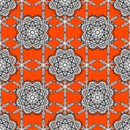 Traditional classic vector white seamless pattern. White elements on orange background. Seamless oriental ornament in the style of baroque. Illustration