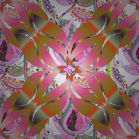 Hand-drawn colored mandala on a colorful background. Vector abstract pattern. 向量圖像